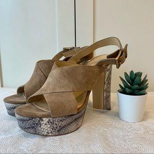 Michael Kors Snake Print Heel Platform Sandals